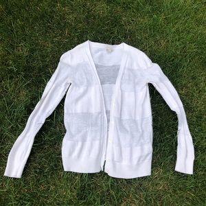 Gap white striped cardigan